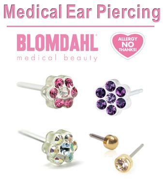 Ear piercing + medical titanium earrings